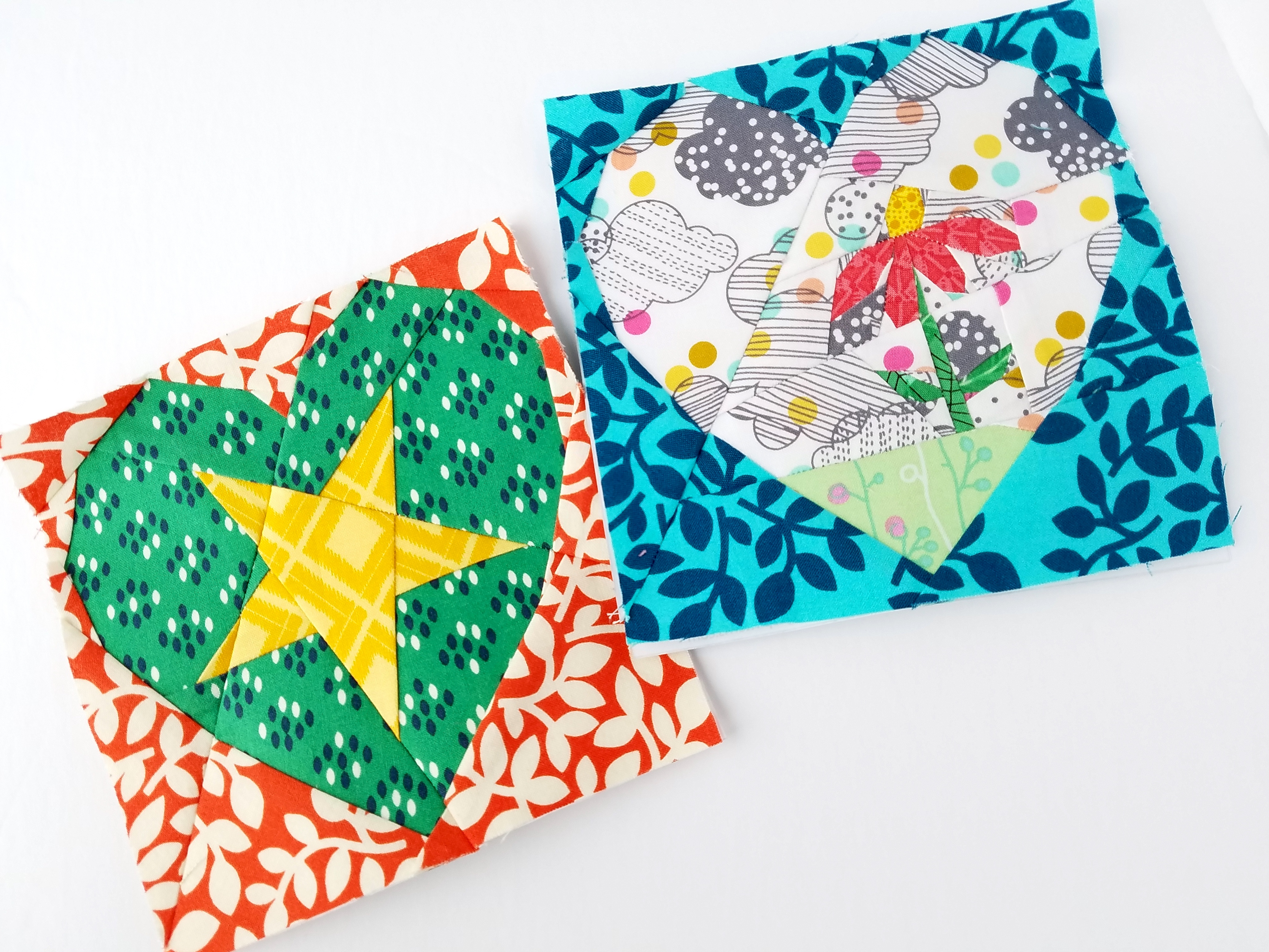 Heart Attack Blocks Star & Flower by Diane Bohn