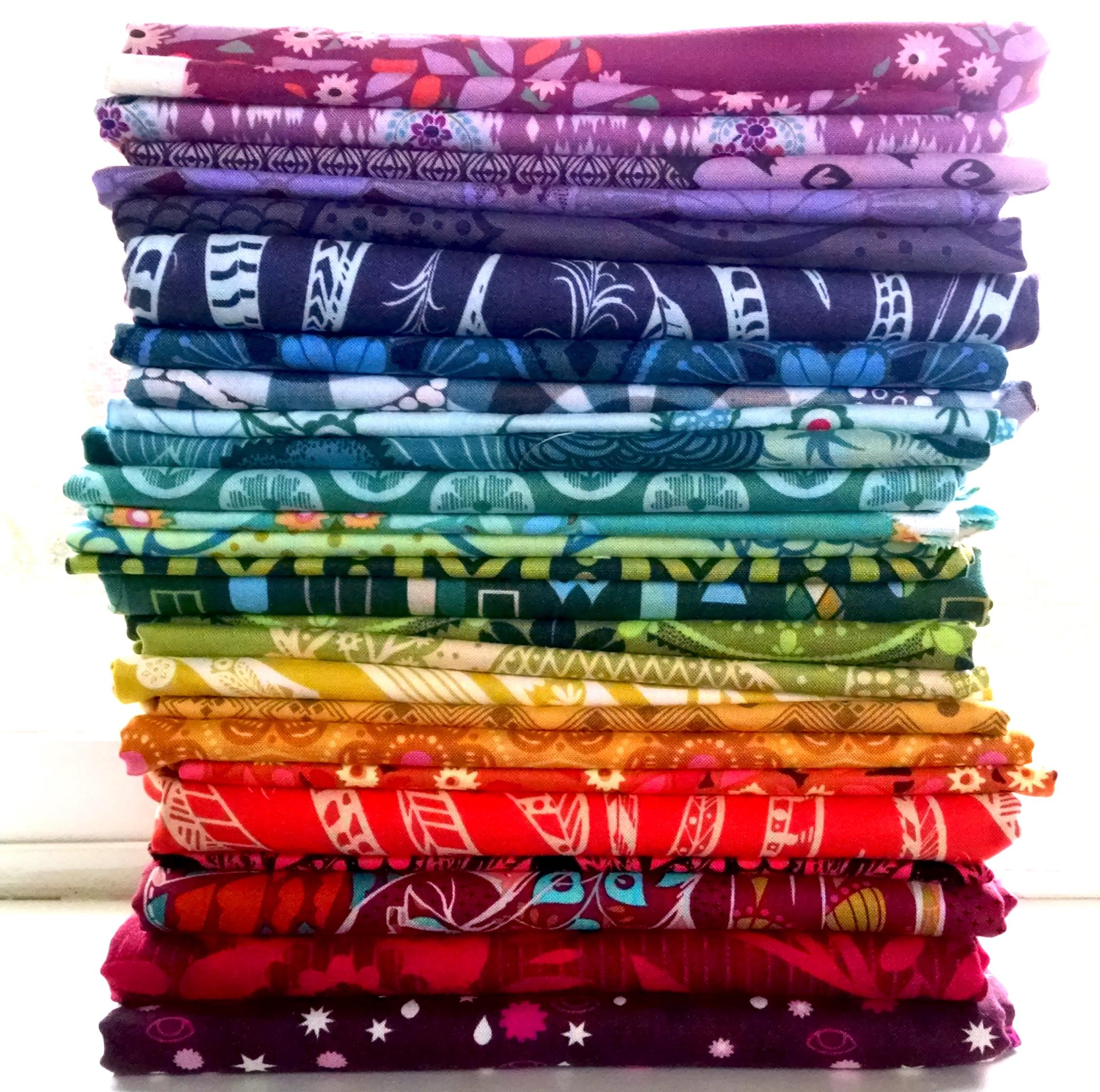 rainbow fabric stack
