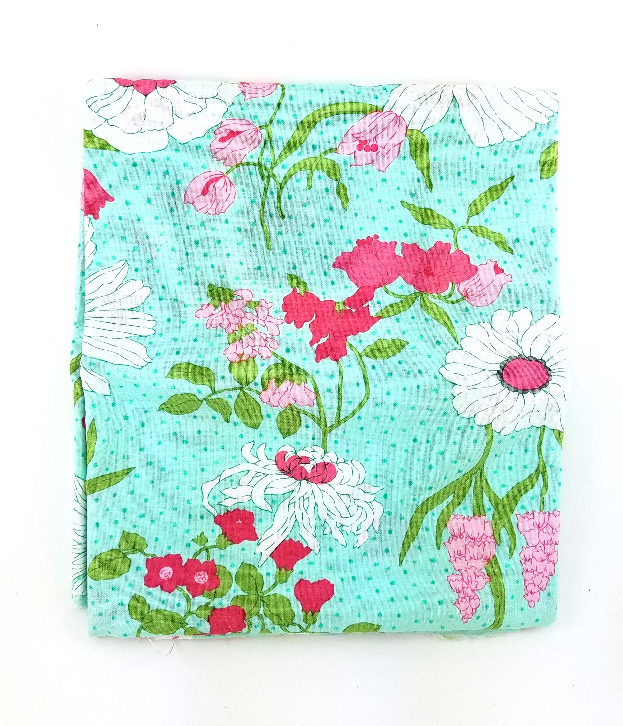 V and Co, Color Me Happy, Aqua Florals, 1 Yard minus 9 in x 14 in