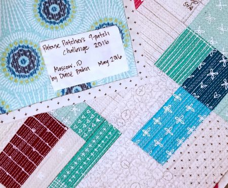 FBP written quilt label Modern Nine Patch